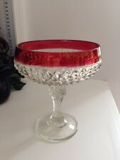 Clear Glass & Ruby Flash Compote Diamond Point Patern Indiana Glass Co.