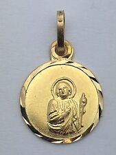 New Solid 14K Yellow Gold Small Round Saint Francis of Paola Charm Pendant 0.6g