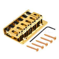 6 String Saddle Fixed Type Bridge For Strat Guitar Parts W/Screws Wrench Gold