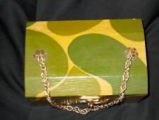 Old Pittypat Green & Yellow Abstract Hand Painted Wood Box Shaped Purse 0041010