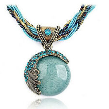New Bohemian Jewelry Statement Necklace Women Rhinestone Gem Pendant Collar