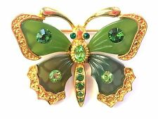 JOAN RIVERS Far East Collection Crystal Faux Jade BUTTERFLY Brooch Pin Green
