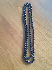 Black Beaded Very Long Necklace - VGC