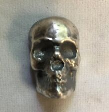 """1oz Skull (Antique finish) 999 fine silver bar """"Yeager's Poured Silver"""" YPS"""