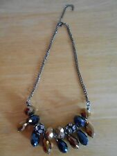 Bold Statement Necklace Charcoal and Bronze Beads. Fashion/Costume Jewelry