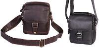 Mens Leather Black Messenger Bag Brown Shoulder Cross Body Casual Flight Bag NEW