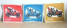 3 Fabric Coasters Vintage TOYOTA Automobile Car 3.5 inches square FREE SH