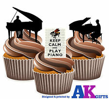 Keep Calm Piano Player Silhouette Mix 12 Edible Stand Up Cup Cake Toppers