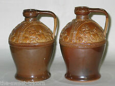 Pair Stoneware Decanters Doulton for G.W. Scott & Sons (Brandy Whisky Whiskey)