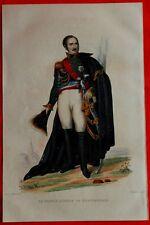 Gravure Aquaréllée XIXè - Le prince Eugène de Beauharnais - Chollet -1835