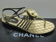 $900 Chanel Gold Leather Pearl Camellia CC Logo Thong Sandals Flats 37 New