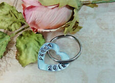 Promposal Heart Key Chain, Personalized Hand Stamped Heart Washer Keyring