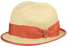 NEW GUCCI LADIES NATURAL STRAW CORAL LOGO RIBBON FEDORA HAT 57/M