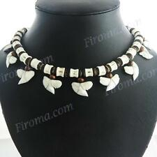 AWESOME 11PC UNISEX TIGER SHARK TOOTH SURFER BONE BROWN HEISHI BEADS necklace