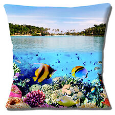 "SEA UNDERWATER CORAL TROPICAL FISH CLOSE UP BEACH PHOTO 16"" Pillow Cushion Cover"