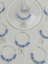 50 Blue Crystal Butterfly Wine Glass Charms. Favours, Wedding, Christening, Hens