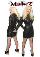 MISFITZ LEATHER LOOK PADLOCK STRAIT JACKET DRESS SIZES 8-32/MADE TO MEASURE