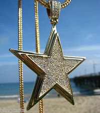"Big Star Pendant Iced-Out Micro Pave Gold Finish Franco Chain 36"" Inch Necklace"