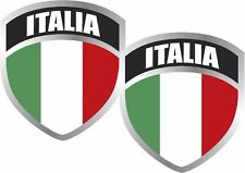"2 - Italia Flag Shield Decal Set 3""x2.5"" Badge Italian Italy Vinyl Sticker"