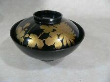 Lovely Japanese Lacquer Makie Miso Soup Bowl Flower Motif #22