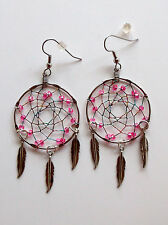 "Dream Catcher Earrings-1 3/8""- Hot Pink Beads/JewelTone Thread-Pizazz Creations"