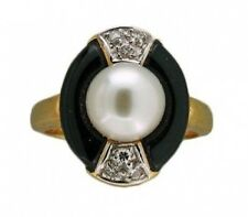 Estate 1960'S 14k Gold Fancy Onyx, Akoya Cultured Pearl & Round Diamond Ring