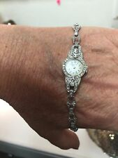 Antique Elgin 1.0ct Diamond & 14K White Gold Lady's Watch