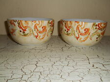 4pc 222 FIFTH Calabash Thanksgiving Orange Dinner Bowls Harvest Fall Scrolls