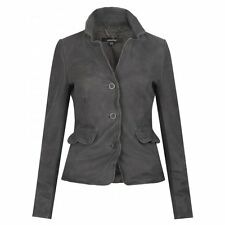 Muubaa Tirana Shrunken Leather Blazer in Eclipse Grey. RRP £319. M0281. UK 8.