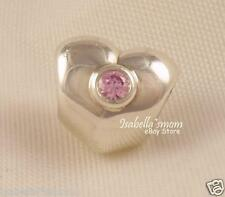 RETIRED Authentic PANDORA Silver Puffy HEART~PINK CZ Valentine Charm~Bead NEW