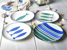 Set of 4 MIKASA Into The Blue STONEWARE SIDE PLATES