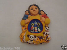 Sandy Whitefeather Native American Handmade Clay Nativity Christmas Ornament