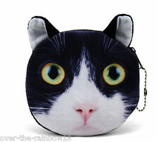 UK Sale: BLACK & WHITE CAT Kitten COIN PURSE, Lined Bag Tux TUXEDO Feline Wallet