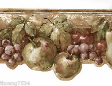 Tuscan Rustic Fruit Grape Apple Pear Cherry Vine Sculptured Wall paper Border