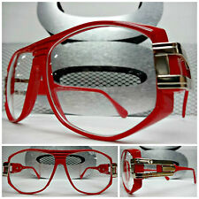 CLASSIC VINTAGE RETRO RAPPER HIP HOP NERD CLUB Clear Lens EYE GLASSES Red Frame