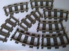 LEGO DARK GREY CURVED TRACKS X8   2867