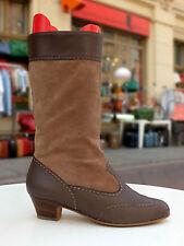 SYMPATICA Damen Stiefel Boots Gr. 41 UK 7 Leder Braun Futter  True Vintage