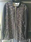 New Chico's Zenergy Knit Black Lace Stripe Zip Jacket Sweater 3 XL 16/18 Top nwt