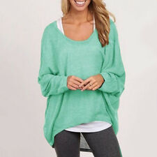 Womens Loose Knitwear Batwing Sleeve Pullover Casual Oversize Baggy Jumper Tops