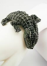 "Kenneth Jay Lane ""Made in the USA""  Alligator By Pass Bracelet  Hematite"
