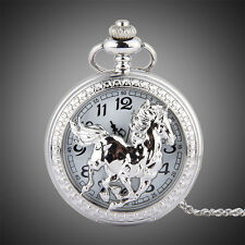 Silvery Horse Flip Cover Stainless Steel Quartz Analog Pocket Watches