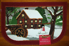 NWT SNOWMAN WINTER LANDSCAPE KITCHEN MAT HOLIDAYS CHRISTMAS DECOR DOOR RUG 17x27