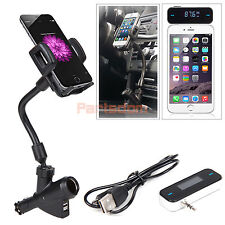 Wireless FM Transmitter+Dual USB Port Charger Cigarette Lighter Car Mount Holder