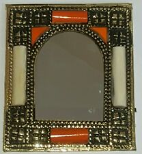 Moroccan hand crafted embroidered brass & camel bone mirror ( design 3 )