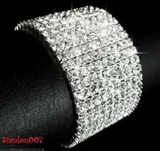 Silver Tone Crystal Clear Diamonte / Diamante 10 Row Stretchy Bracelet - NEW!!