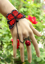 Gothic Classic Lolita Butterfly Lace Bracelet + Ring Handmade cosplay Wedding
