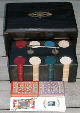 Vintage Clay Poker Chips 200 Ebonized Oak Case Box 2 Decks Congress Cards 10x7x5