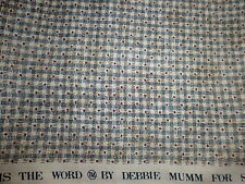 100% Cotton Fabric SSI Debbie Mumm Tiny Red Stars Blue Tan Basket Weave 1 YD