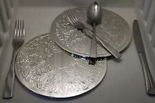 Pack of 2 Large19cm Silver Plated Plate Size Coasters Pressed Filligree Pattern