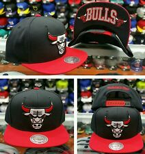 NEW NBA Mitchell and Ness Chicago Bulls BLACK RED Adjustable snapback